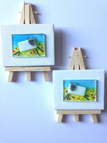 Sheep Pictures on Canvas with Easel.